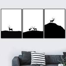 <b>Gohipang</b> Black White Deer Mountain Landscape Wall Art Canvas ...
