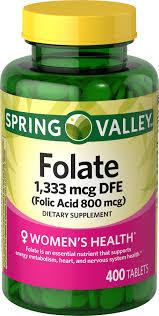 Spring Valley <b>Folic Acid</b> Tablets, <b>800</b> mcg, 400 Count - Walmart.com ...