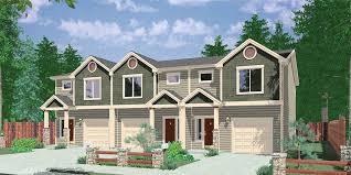TriPlex House Plans  Multi Family Homes  Row House PlansT  Triplex House Plans  Bedroom House Plan       Wide House