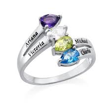 Four Stone <b>Mothers Ring</b> in 2019   <b>Mother rings</b>, <b>Engraved</b> promise ...
