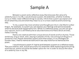 reflection essays sample sample a between a poem and a reflective essay that discusses the  sample