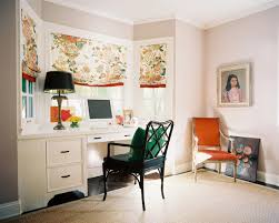 awesome eclectic home office with charming white built in desk also antique black table light also classic black study armchair also classic orange wooden charming home office light