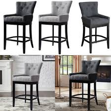 Home, Furniture & DIY Set of 1/<b>2pcs</b> Grey <b>Bar Stool</b> Buttoned Studs ...