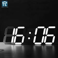 Creative Large Size <b>3D LED</b> Desk <b>Digital Electronic</b> Alarm Clock ...