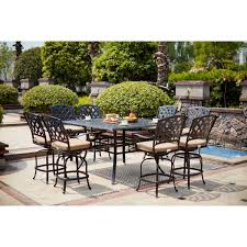 Canora Grey Milsap <b>9 Piece Bar</b> Height Dining Set with Cushions ...
