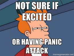 Not sure if excited Or having panic attack - Futurama Fry | Meme ... via Relatably.com