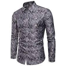 Voberry Men's Camouflage Design Silk Cloth <b>Long Sleeve</b> Slim Fit ...