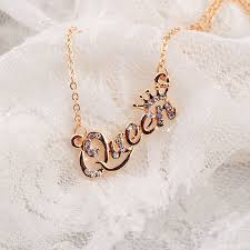 <b>SHUANGR Luxury Gold Color Queen</b> Crown Chain Necklace Zircon ...