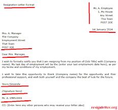 example resignation letter format   resignletter orgresignation letter format