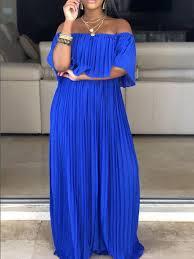 Royal Blue <b>Pleated Ruffle</b> Off Shoulder Backless <b>Ruched</b> Flowy ...