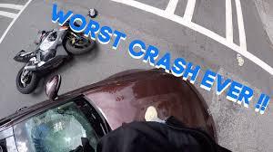 craziest <b>motorcycle</b> crash ever + <b>biker</b> smashes <b>windshield</b>