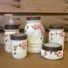 dog faces ceramic bathroom accessories shabby chic: shabby chic mason jar bathroom set mason jar desk set mason jar office decor ivory mason jar set  piece vintage mason jar vanity set