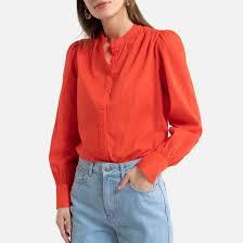 <b>Блузка</b> с круглым вырезом и длинными <b>рукавами</b> оранжево ...