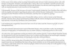 mike flynn resigns the right scoop here s the statement from flynn on his resignation