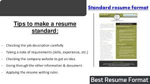 best resume format  sample    standard