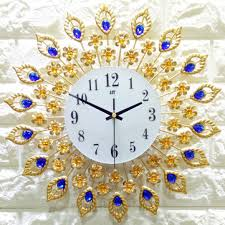 38x38cm <b>iron art</b> gold wall clock <b>european</b> style quartz wall clock for ...