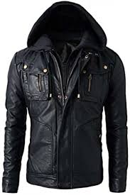<b>Mens</b> Slim Fit <b>Hooded</b> Biker <b>Leather Jacket</b>: Amazon.co.uk: Clothing