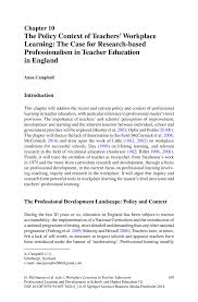 the policy context of teachers workplace learning the case for workplace learning in teacher education workplace learning in teacher education