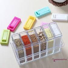 SOS-<b>1set</b> 6 <b>Spice</b> Jar Kitchen <b>Condiment Box</b> Acrylic <b>Spices</b> ...