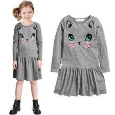 Casual Long Sleeve Cat <b>Print</b> Dress for Girls for <b>2</b>-<b>8T</b> – FOR MY ...
