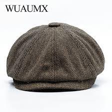 <b>Wuaumx Unisex</b> Autumn Winter Newsboy Caps Men And Women ...