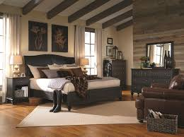 classic modern bedroom design with black bedroom furniture from aspen home and brown leather armchair brown leather bedroom furniture