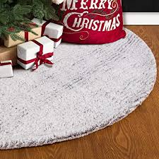 S-DEAL 48 Inches <b>Faux Fur Christmas</b> Tree Skirt <b>Decoration</b> Double