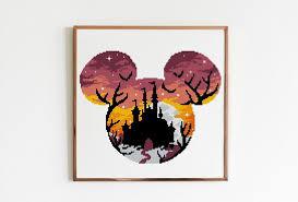 Mouse with <b>halloween castle</b> cross stitch <b>pattern</b> modern | Etsy in ...