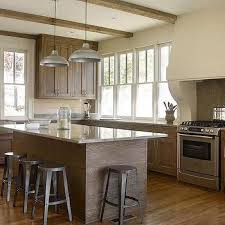 limed oak kitchen units: stained oak kitchen cabinets with gray granite countertops