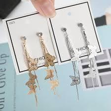 <b>s925 silver</b> needle butterfly tassel long <b>personality</b> earrings | Shopee ...