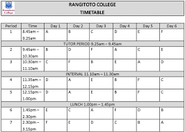 school exam time table format inspirenow timetable template rangitoto collegeeach student takes subjects in total except for year students who do subjects