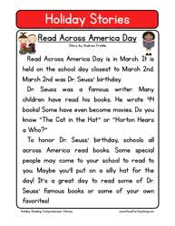 Reading Comprehension Worksheetsholiday stories comprehension read across america day. Second Grade Reading Comprehension ...