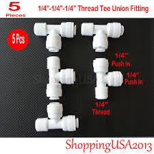 "<b>5 Pcs</b> Male Tee <b>Union</b> Fitting 1/4"" Thread <b>Quick</b> Connector Push in ..."