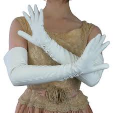 White <b>Leather</b> Gloves with <b>3 Buttons</b> at the wrist, lined in silk for ...