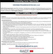 aidt jobs jobs view 21958 quality control chemist job description for quality control chemist oxford pharmaceuticals llc in birmingham alabama