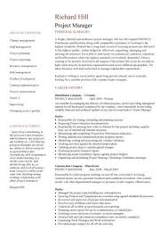 two page project manager cv template resume samples for project managers