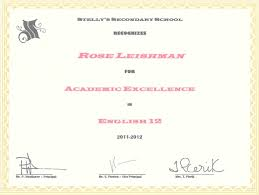 awards rose leishman these awards are arranged in reverse chronological order the academic excellence and outstanding achievement certificates were awarded for receiving the