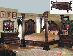 marble piece bedroom set king cherry poster canopy bed w leather  piece bedroom set marble