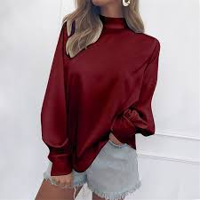 Brand New <b>Plus Size</b> Casual Red Shirts Women Office Blouses ...