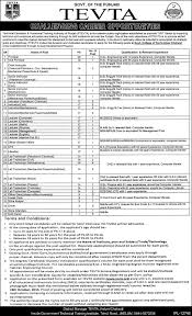 jobs in technical education and vocational training authority jobs in punjab technical education and vocational training authority jhelum 2015