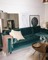 Green Velvet Couch And <b>Abstract</b> Art in <b>Minimalistic Home</b> | Bright ...