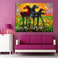 Canvas Painting <b>Pure handpainted</b> Oil painting Horse Family <b>Wall</b> ...