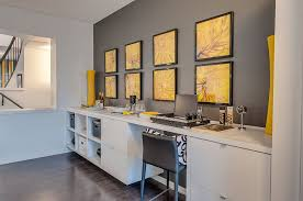 interesting use of modern prints to add yellow to the home office design brookfield add home office