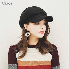 USPOP 2019 Hot women wool <b>Octagonal Hats</b> female newsboy ...