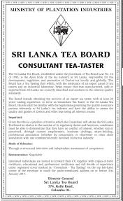 consultant tea taster vacancy sri lanka tea board  advertisement english edition