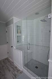 spa bathroom showers: farmhouse spabathroom shower i want the half wall on the toilet side w an open in door
