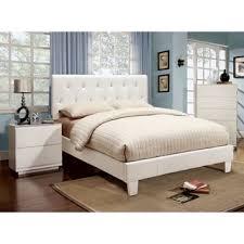 furniture of america mircella 2 piece white leatherette platform bedroom set bedroom white furniture