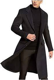 Inverlee <b>Men's British</b> Style <b>Solid</b> Color Long Coat Fashionable ...