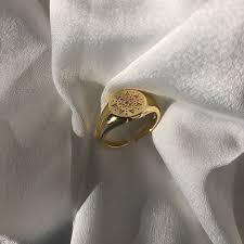 Poppy Ring Signet Vintage <b>Geometric</b> Star Ring <b>925 Sterling Silver</b> ...