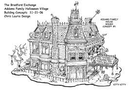 BRADFORD Designs by Chris Lauria at Coroflot comAddams Family Village House Design   Black  amp  white concept design for The Bradford Exchange   Addams Family Village set